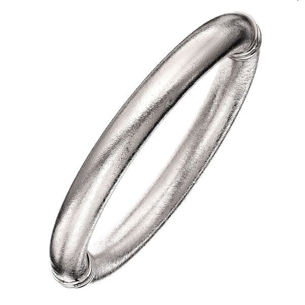 1AR by UnoAerre 18KT GEP 10mm Silver Plated Mill Grained Bangle