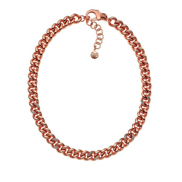 1AR by UnoAerre 18KT Rose GEP Venetian Link Necklace with Diamond Dust