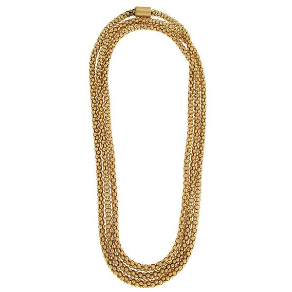 1AR by UnoAerre 18KT Gold Plated 48 inch Popcorn Chain Necklace with Magnetic Closure