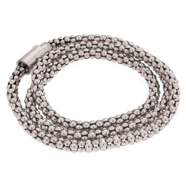 1AR by UnoAerre Fine Silver Plated 24 inch Popcorn Chain Bracelet with Magnetic Closure