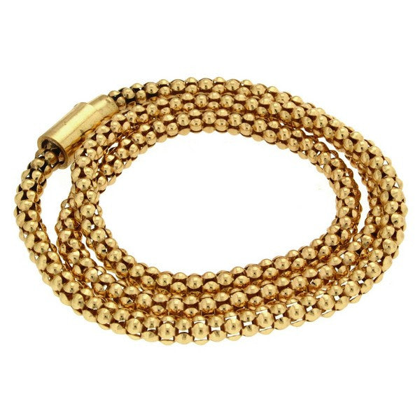 1AR by UnoAerre 18KT Gold Plated 24 inch Popcorn Chain Bracelet with Magnetic Closure