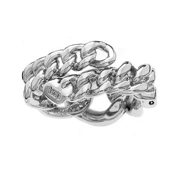 1AR by UnoAerre Rhodium plated curb chain ring