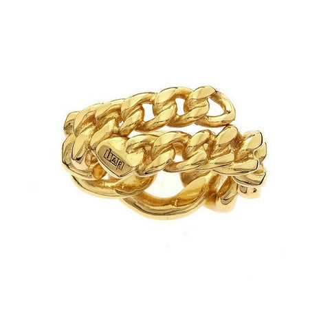 1AR by UnoAerre 18KT gold plated curb chain ring