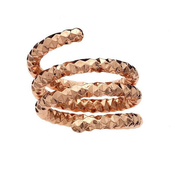 1AR by UnoAerre Rose gold plated diamond cut coil ring