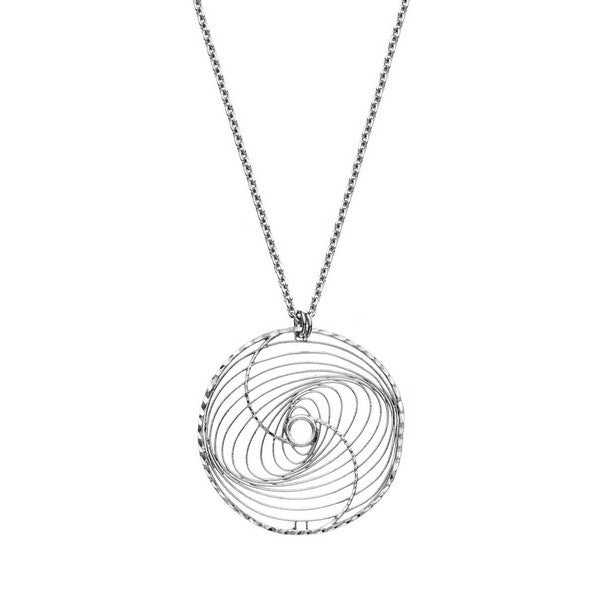 1AR by UnoAerre Rhodium plated whirlwind pattern necklace