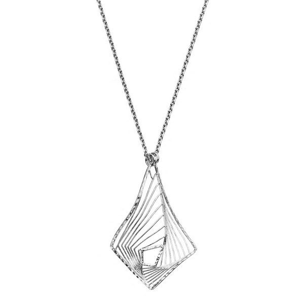 1AR by UnoAerre Rhodium plated diamond shaped whirlwind pattern necklace