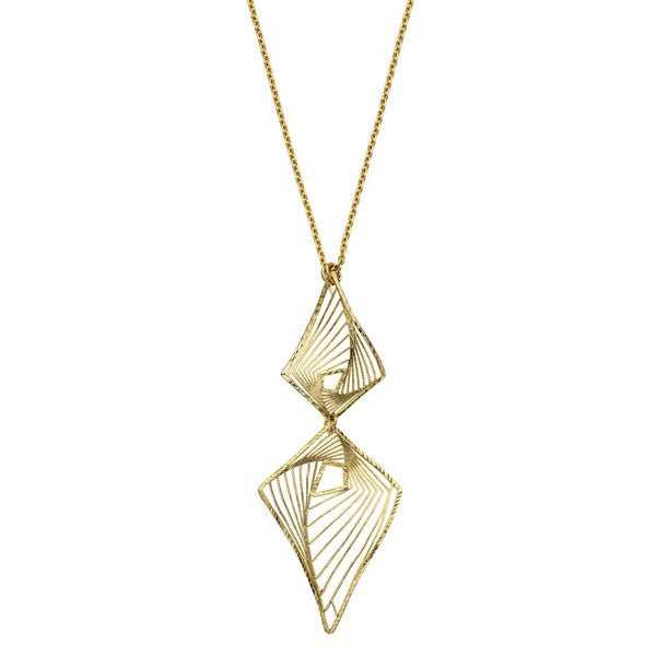 1AR by UnoAerre 18KT gold plated diamond shaped whirlwind pattern pendant necklace