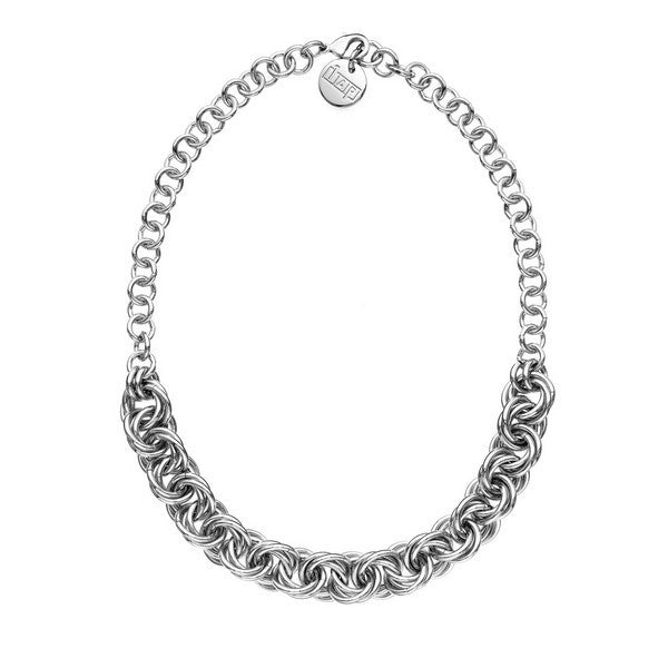 1AR by UnoAerre Rhodium plated rope chain necklace