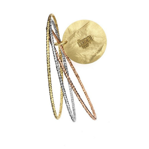 1AR by UnoAerre Tri-color diamond cut bangle with 30mm disc
