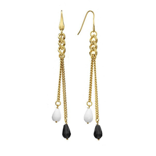 1AR by UnoAerre 18KT gold plated curb chain earring with black and white glass bead