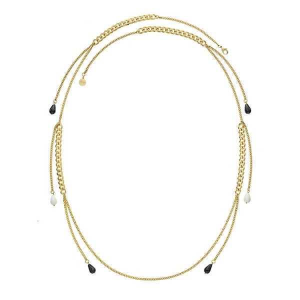 1AR by UnoAerre 18KT gold plated curb chain necklace with black and white glass bead