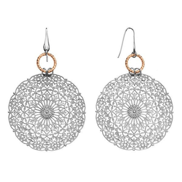 1AR by UnoAerre Rhodium plated dreamcatcher style chain earring with rose gold plated diamond cut linked-ring