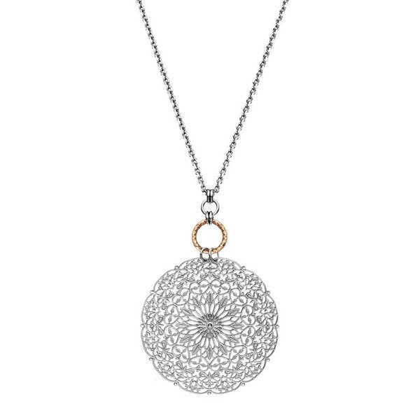 1AR by UnoAerre Rhodium plated dreamcatcher style chain necklace with rose gold plated diamond cut linked-ring