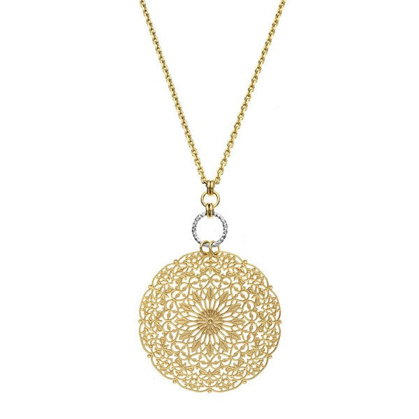 1AR by UnoAerre 18KT gold plated dreamcatcher style chain necklace with rhodium plated diamond cut linked-ring