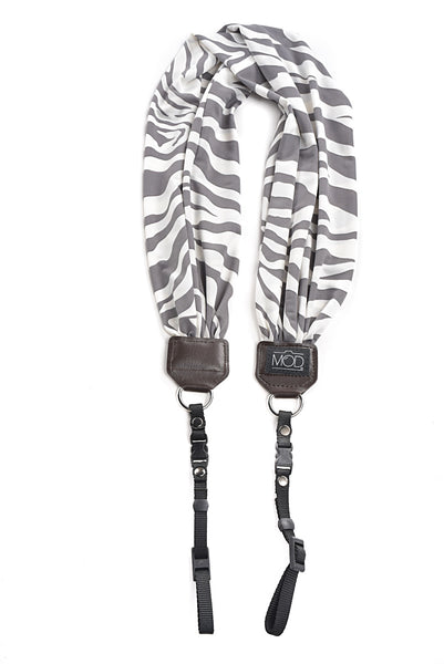 MOD Scarf Camera Strap Grey and White Zebra