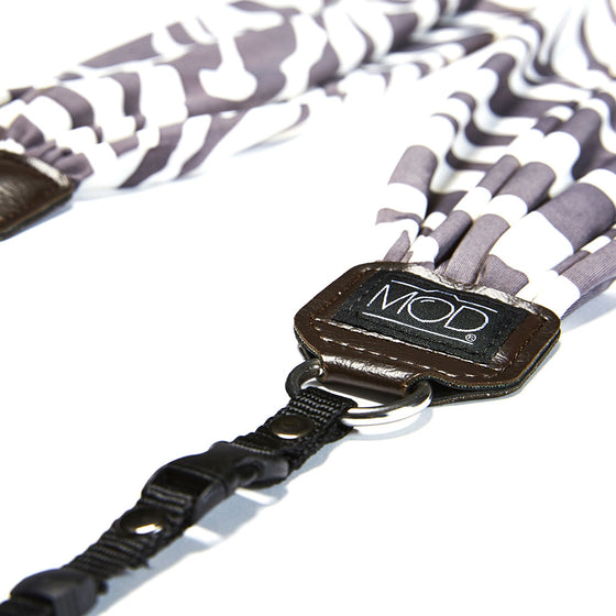 Mod Straps Camera Scarf Strap Grey and White Zebra