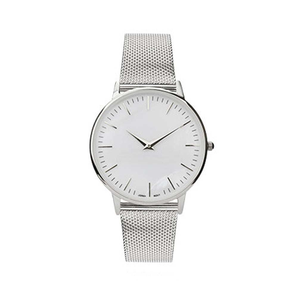 Silver and Mother of Pearl Milanese Mesh Band Women's Wrist Watch