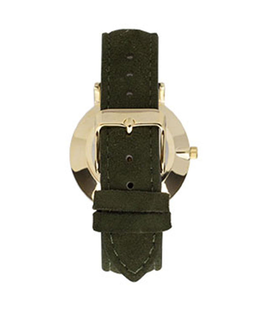 Olive Green Genuine Leather Mother of Pearl Fashion Watch