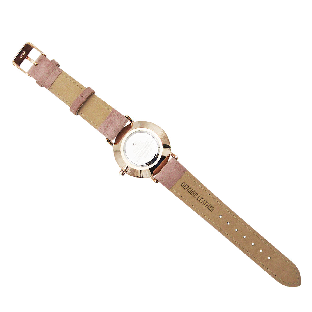Blush Pink Genuine Leather Mother of Pearl Fashion Watch