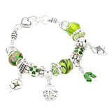 Silver Tone and Green Irish Good Luck 4 Leaf Clover Pandora Style Bracelet