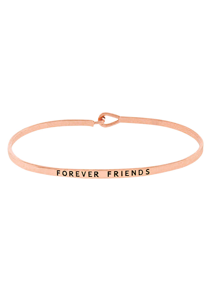 """Forever Friends"" Thin Metal Hook Bangle Bracelet Rose Gold Color"