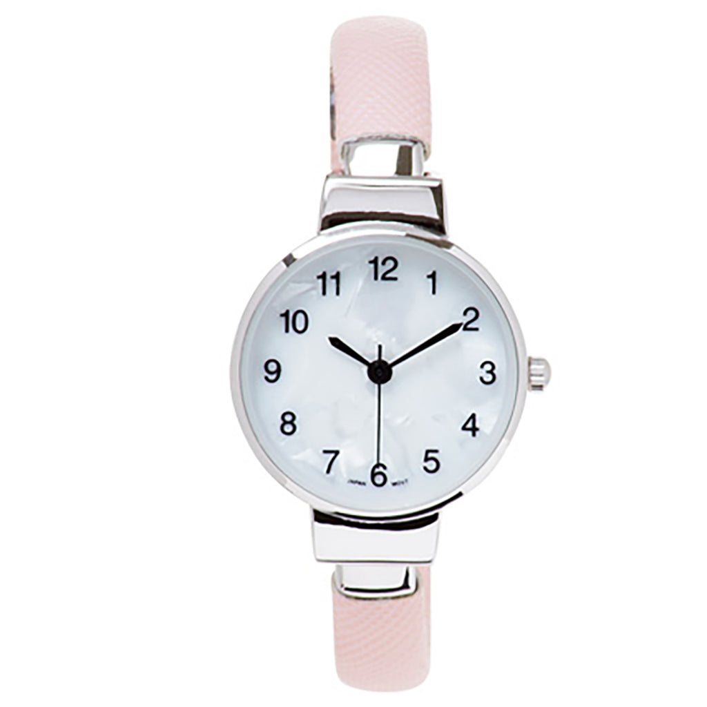Petite Stylish Mother of Pearl Face Textured Cuff Bracelet Watch (Pink)