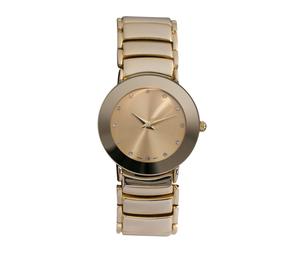 Rosemarie Collections Men's Stylish Round Face Unisex Watch (Gold Tone)