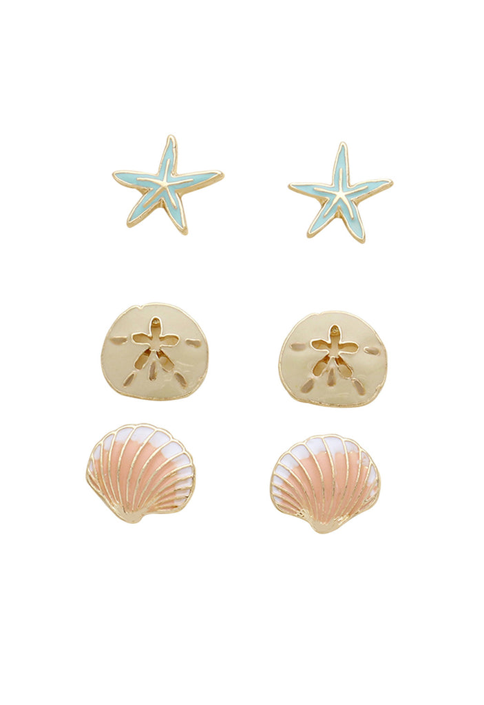 "Beach Stud Earrings Set of 3 ""Starfish Sand Dollar Shell"""