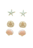 Beach Stud Earrings Set of 3