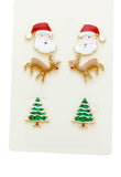 Rudolph Santa Christmas Tree 3 Pairs Stud Earrings