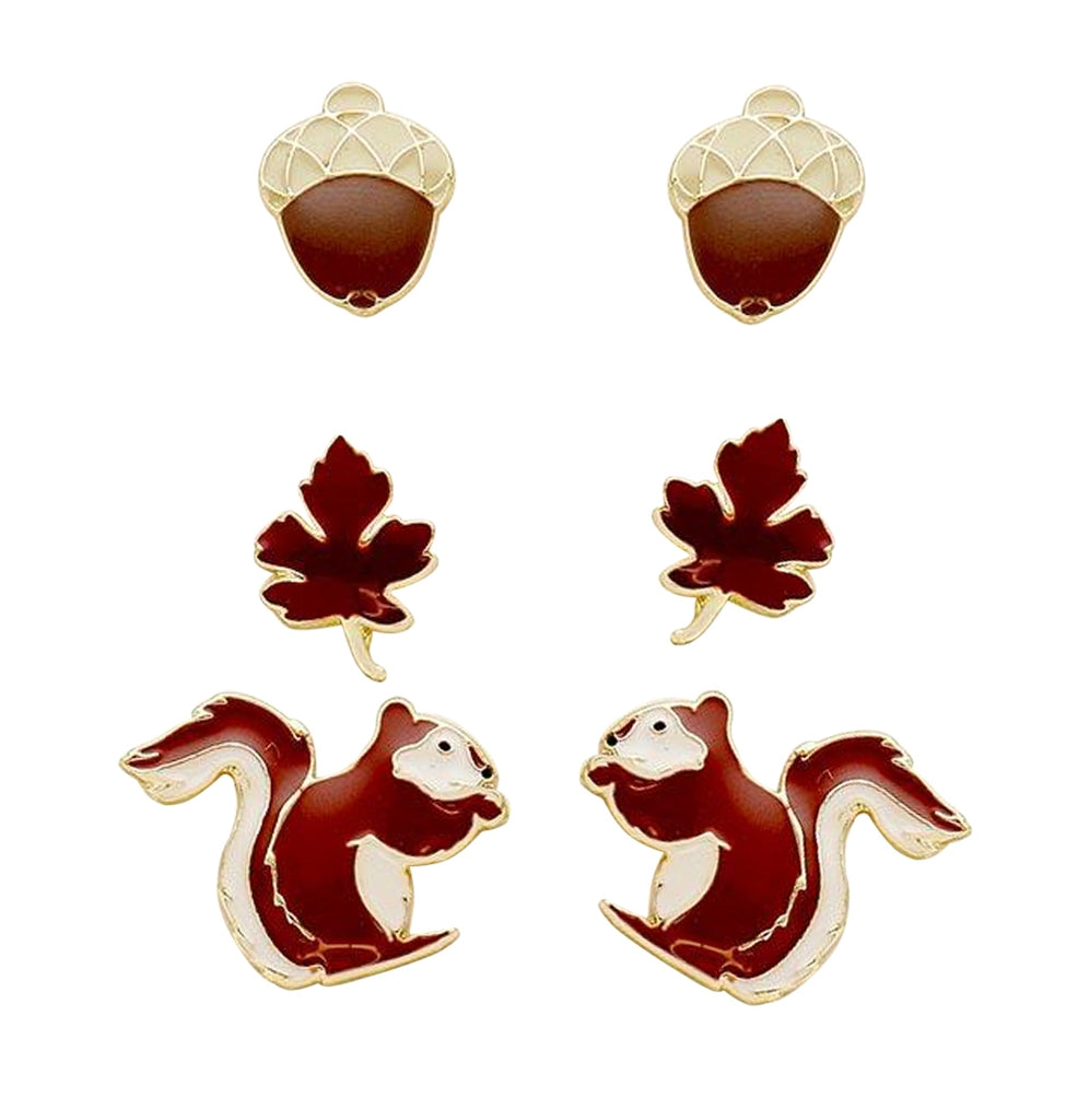 Acorn Squirrel and Leaf Set of 3 Fall Stud Earrings