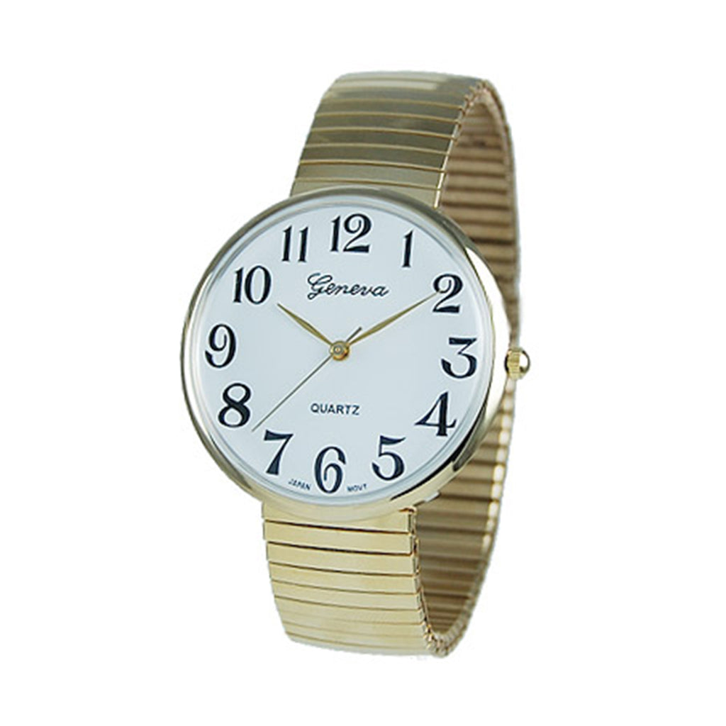 Large 1.5 Inch Round Face Geneva Stretch Band Watch (Large Face/Gold Tone)