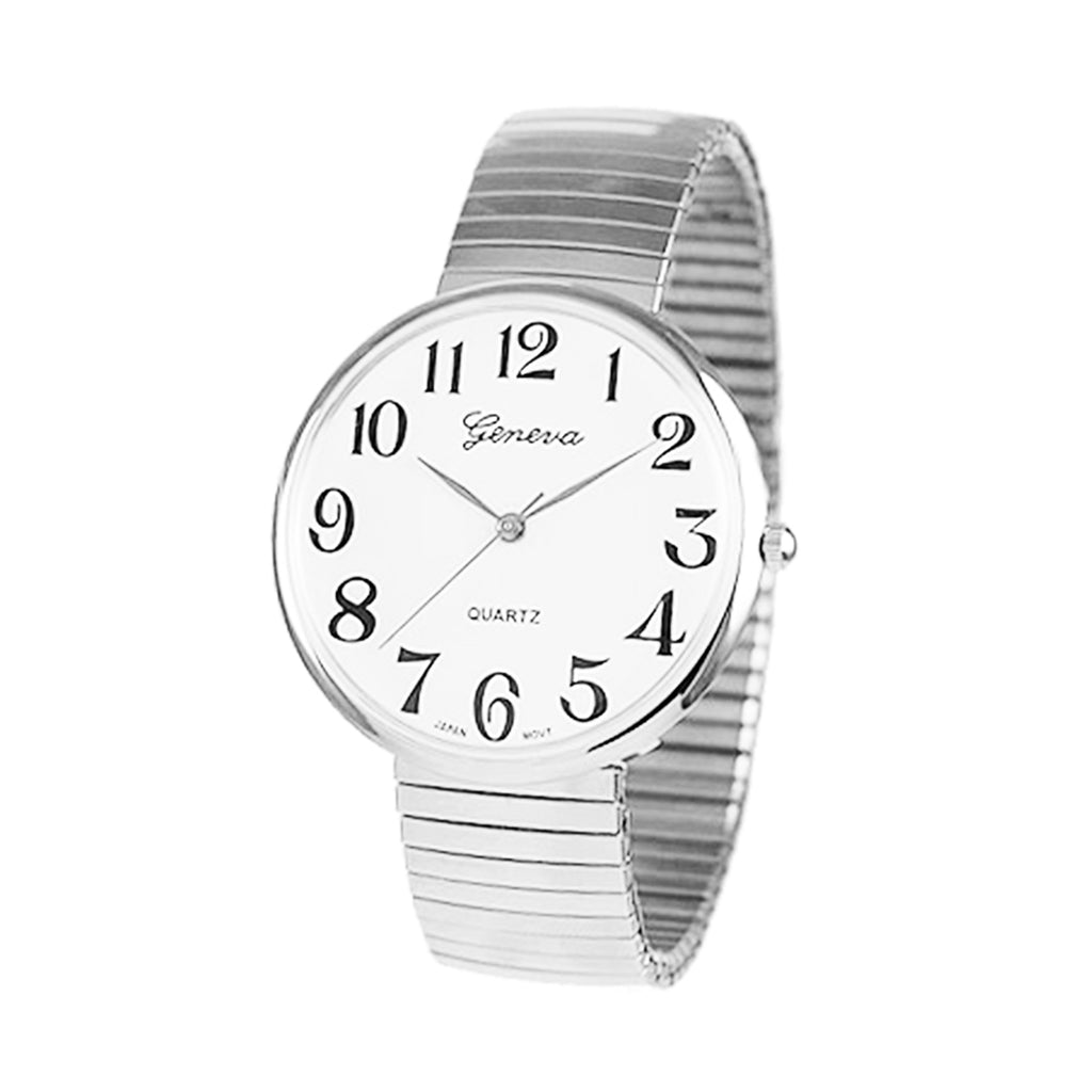 Large 1.5 Inch Round Geneva Stretch Band Watch (Large Face/Silver Tone)