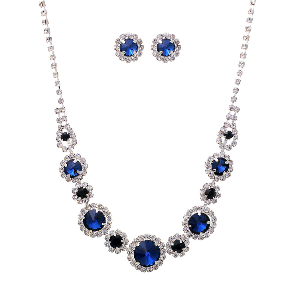 Blue Crystal Collar Necklace Stud Earrings Set