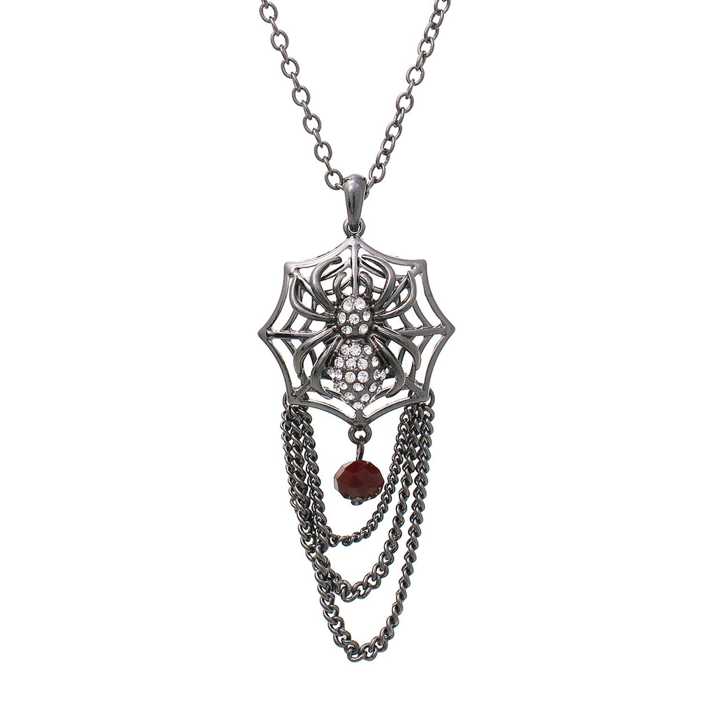 Spooky Spiderweb Halloween Pendant Necklace