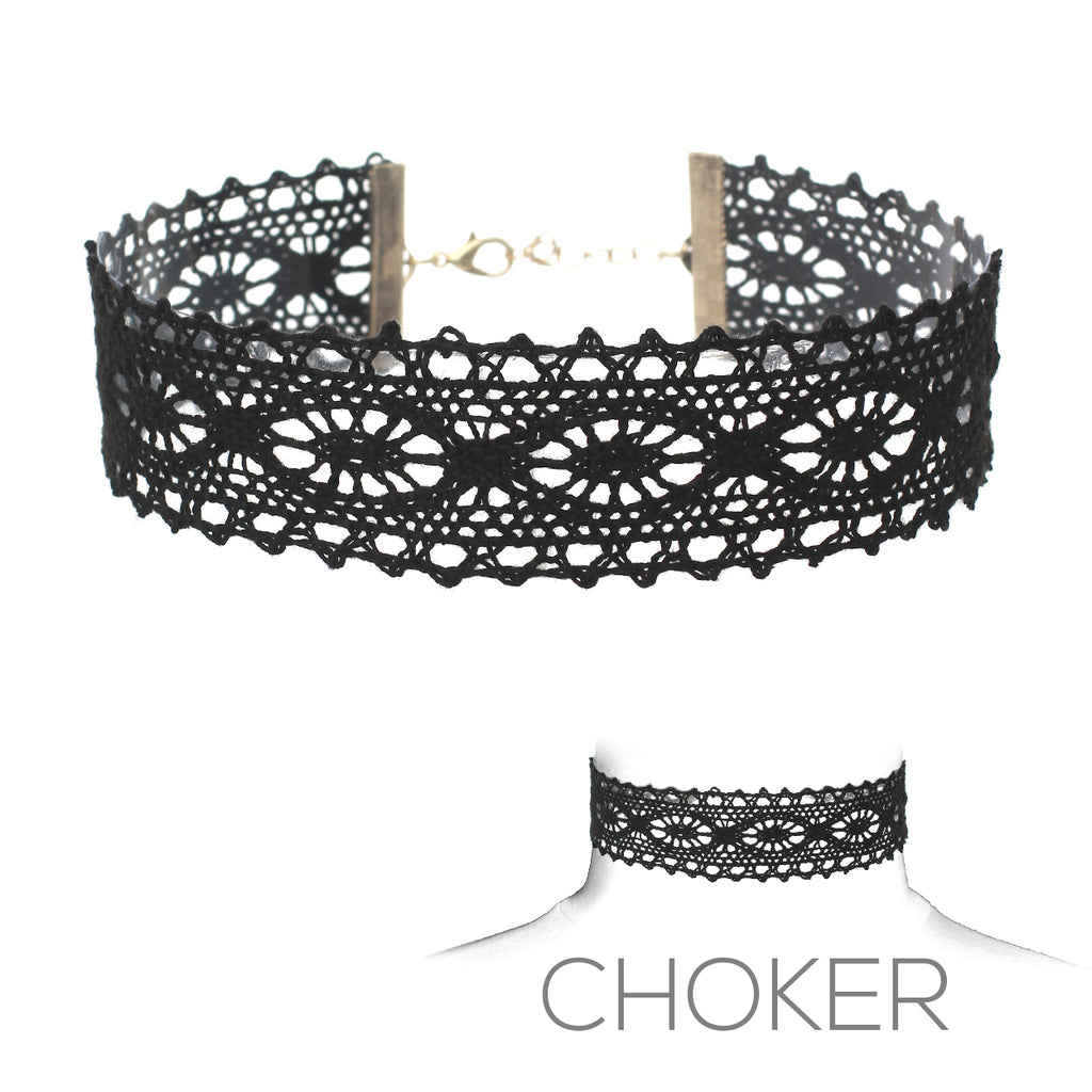 Beautiful Gothic Black Lace Choker Necklace