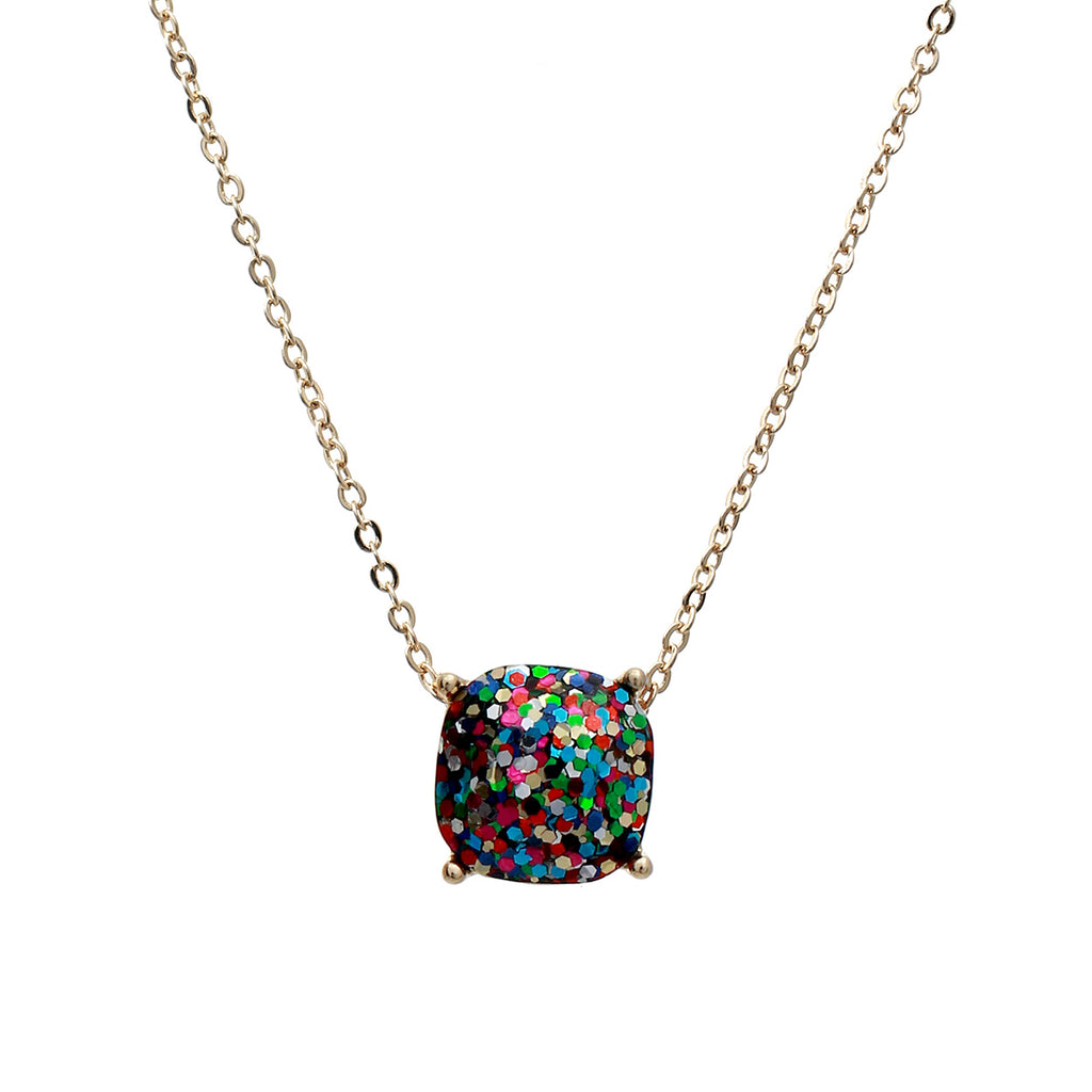 Cushion Cut Glitter Pendant Necklace