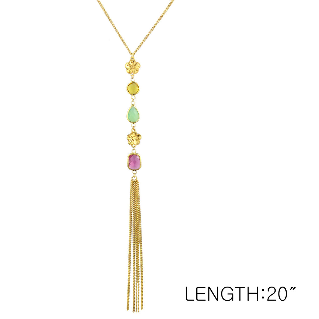 Rhinestone and Pastel Color Flower Tassel Long Necklace