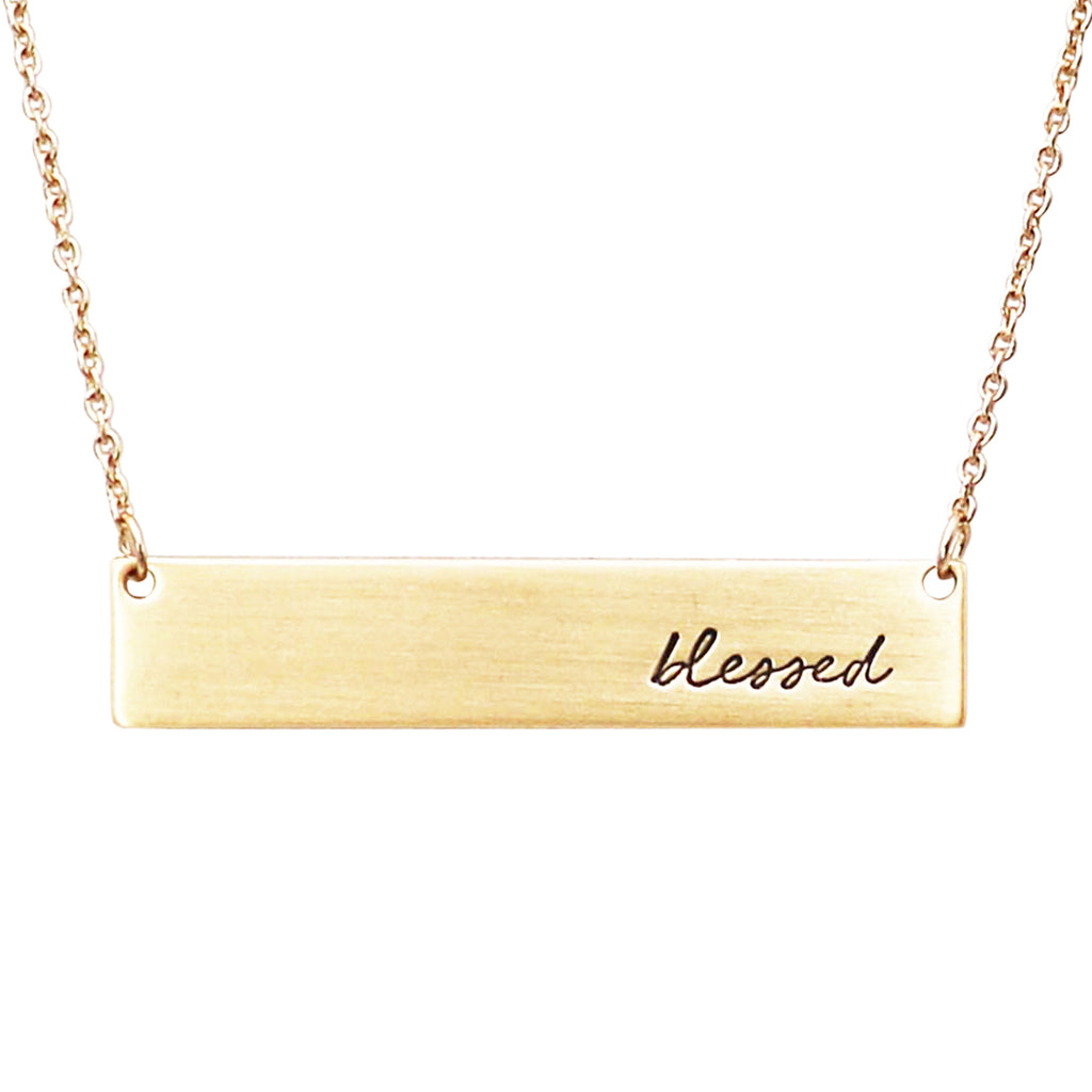 "Inspirational Bar Pendant Necklace ""Blessed"""