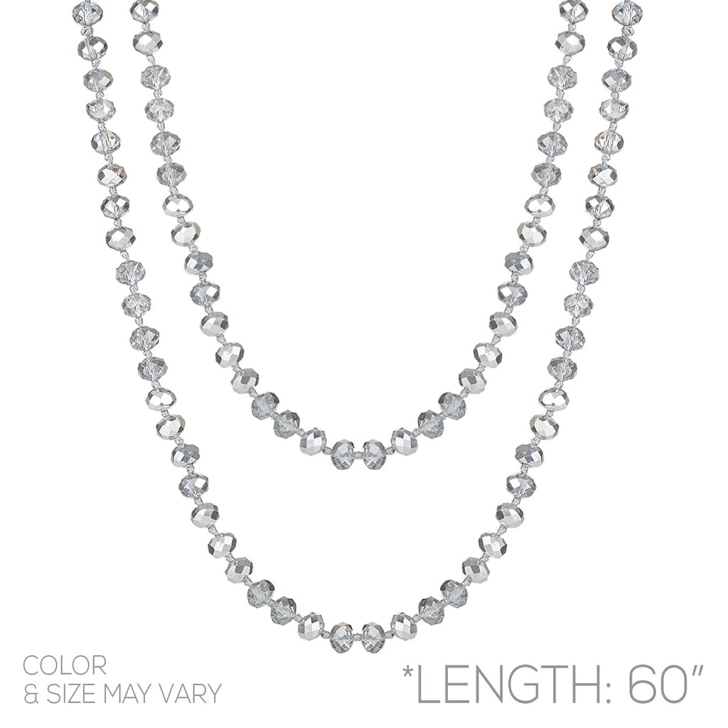 Faceted Glass Crystal Beaded Long Strand Necklace and Stretch Bracelet Set (Silver)