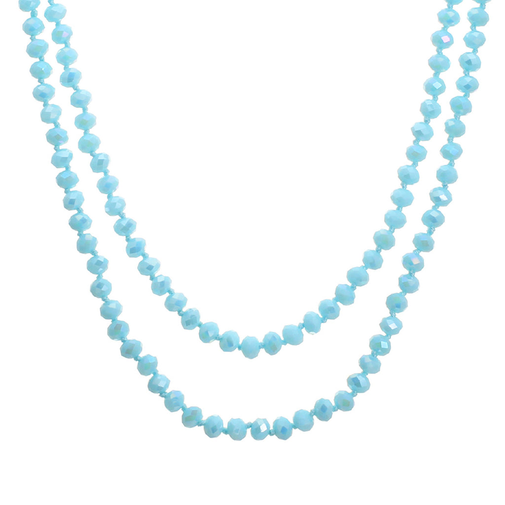 Faceted Glass Crystal Beaded Long Strand Necklace and Stretch Bracelet Set (Aqua)