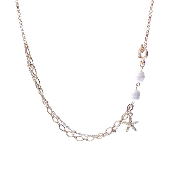 Delicate Glass Pearl Necklace with Suedette Ribbon and Vine Leaf Toggle Clasp