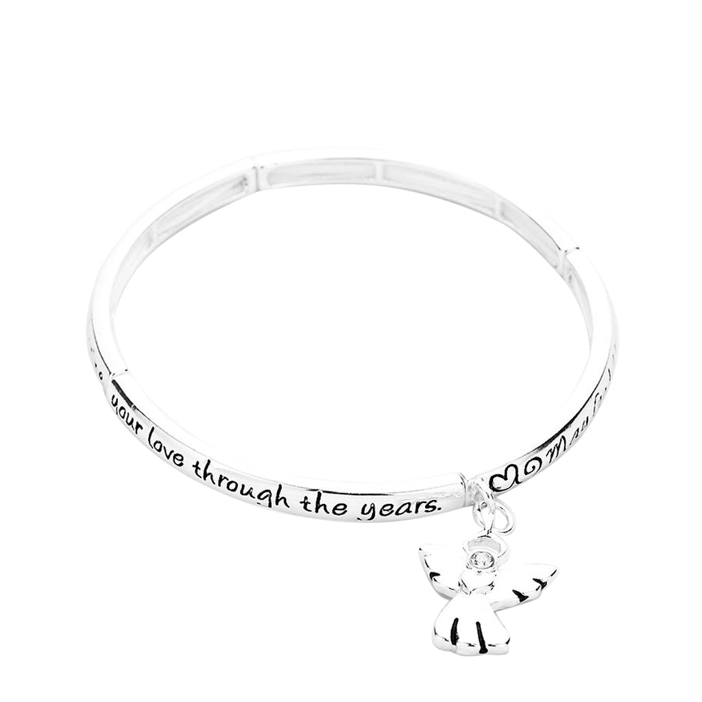 Mom's Blessing Angel Charm Stretch Bangle Bracelet