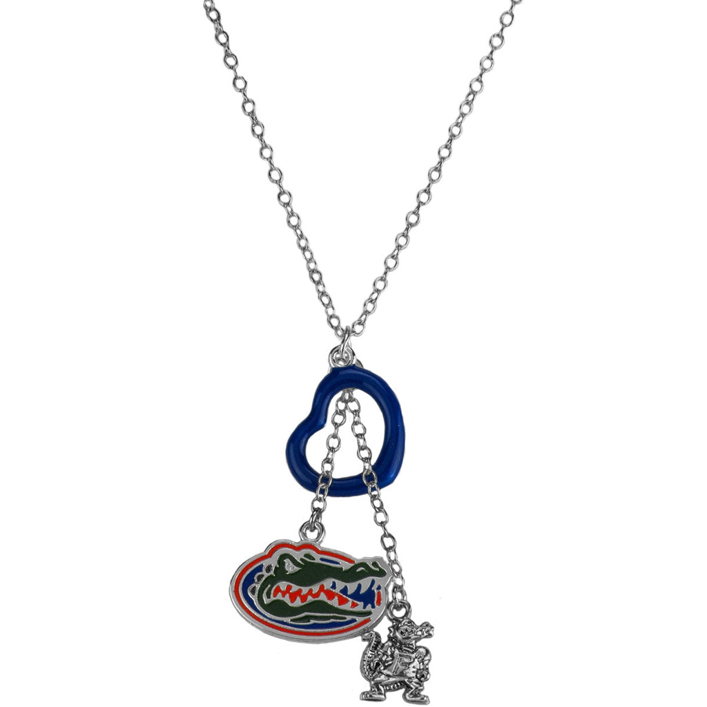 University of Florida Blue Heart Pendant Necklace with Hanging Logo and Mascot Charms