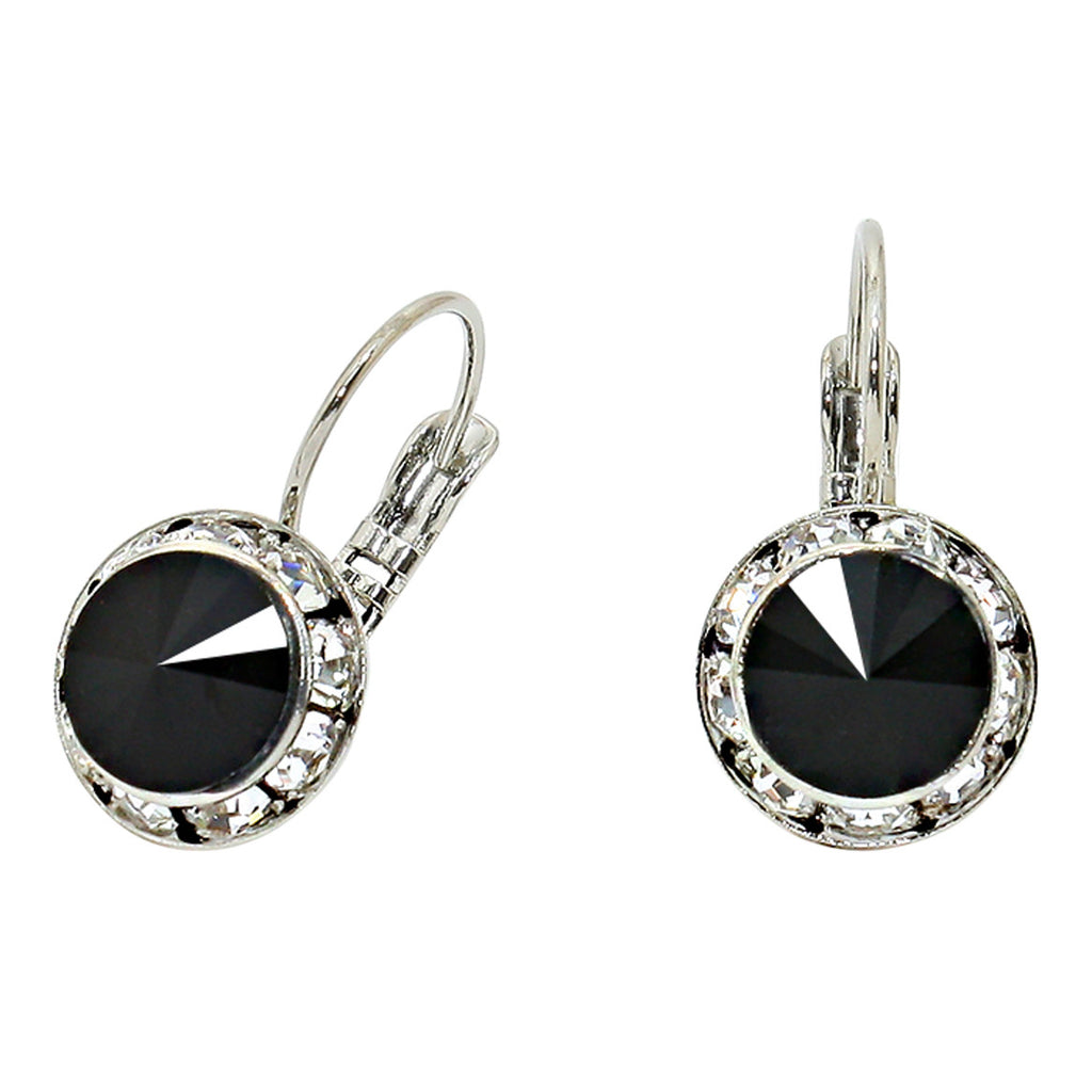 Genuine Austrian Crystal Leverback Drop Earrings (Black)