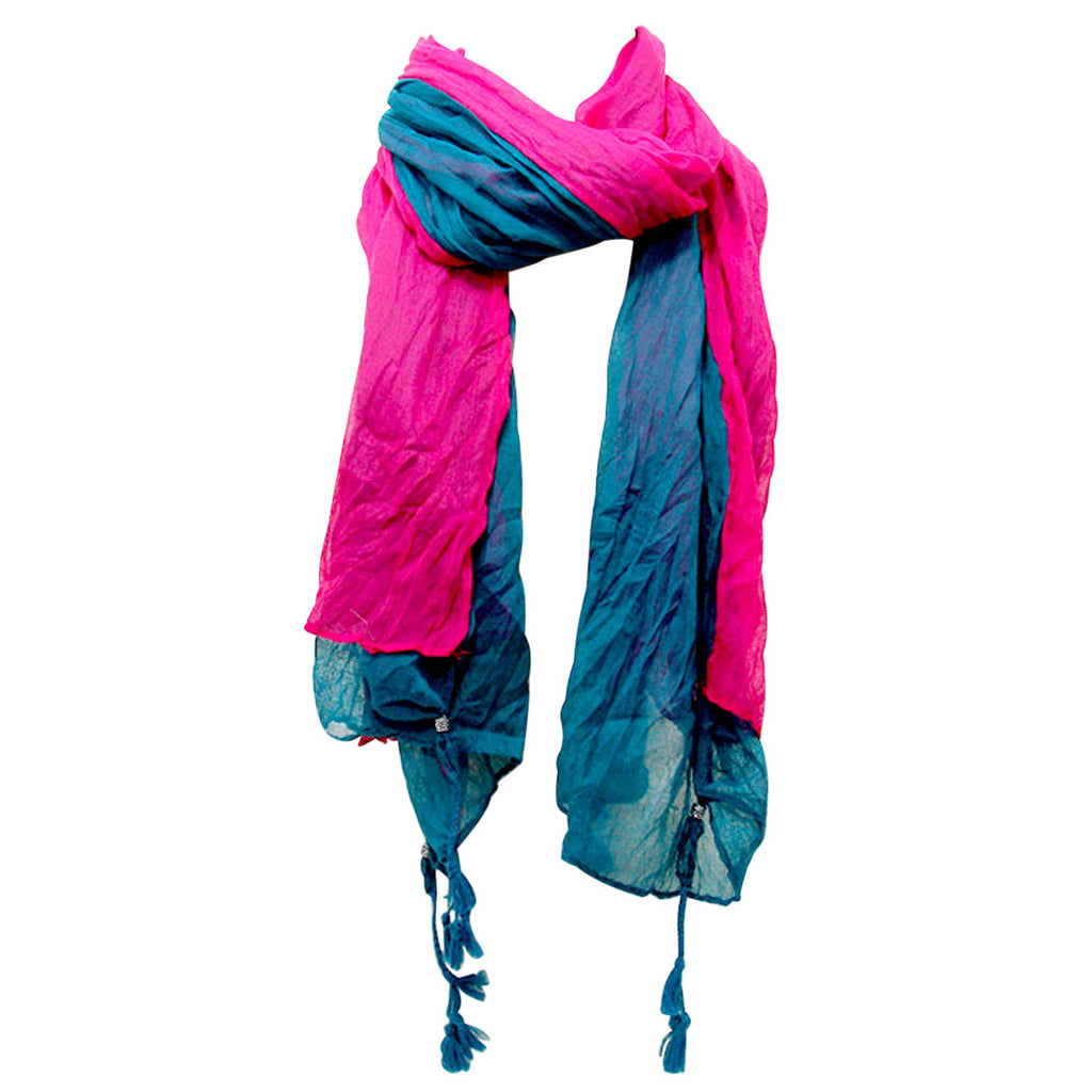 Double Layered Tassel Lightweight Scarf (Teal-Pink)