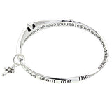 Serenity Prayer, Cross, and Angel Wings Dangle Charm Twist Metal Bangle Bracelet Silver Tone