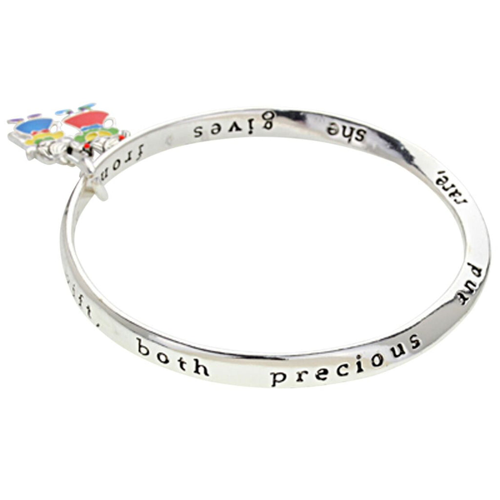 Mom and Daughter Inspirations Poem Twist Bangle Charm Bracelet
