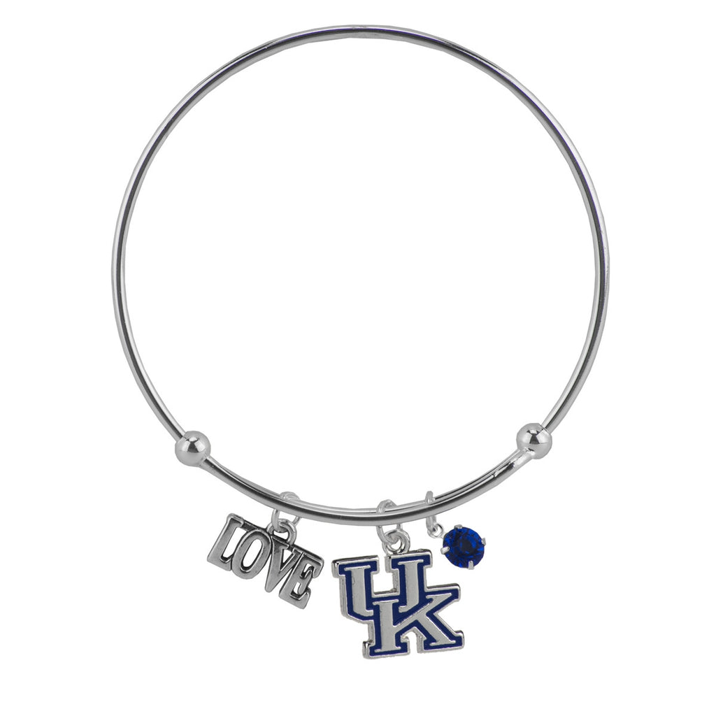 Love University of Kentucky Wire Bangle Bracelet with Team Logo UK Charm