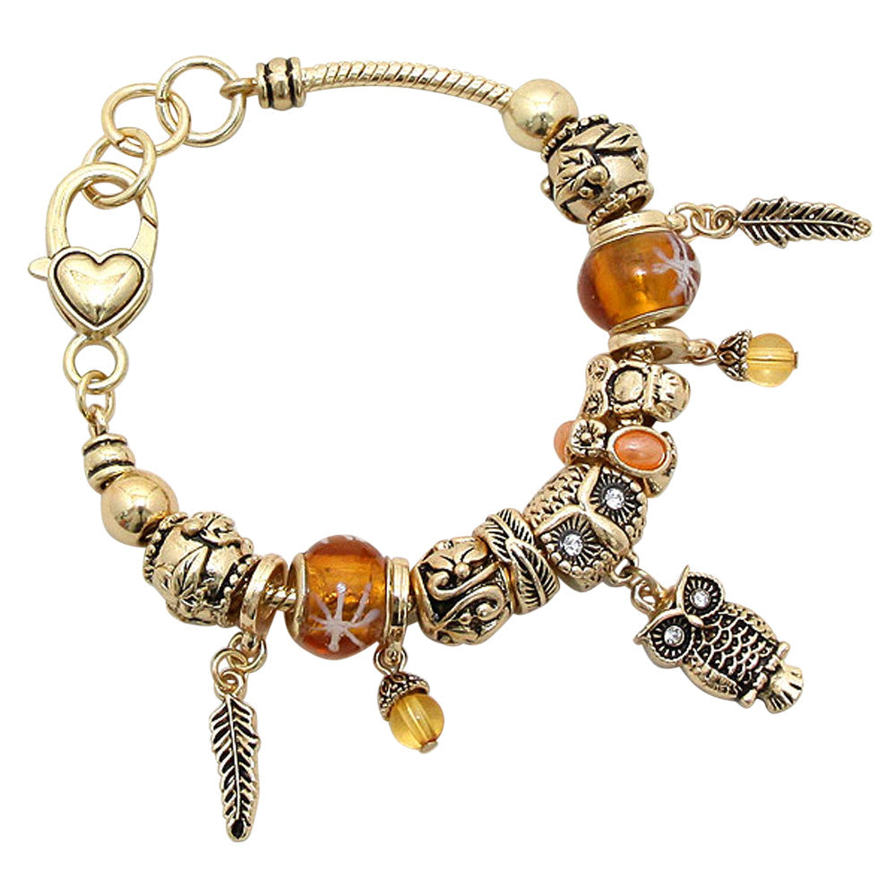 "Beautiful Beaded Charm Bracelet ""Wise Owl"""